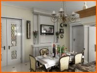 Проект кухни студии в английском стиле - фото.