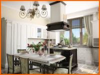 Дизайн интерьера кухни в английском классическом стиле - фото.